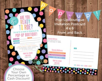 Consultant Pop-Up Postcard Invitation | Personalized | 4x6 Inches | Pop-Up Boutique | DIGITAL PRINTABLE