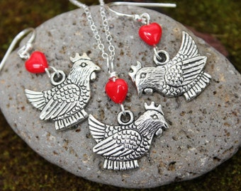I Love Chickens necklace and earring set - fat silver hens under red glass heart, sterling silver chain & earwires -Free Shipping USA