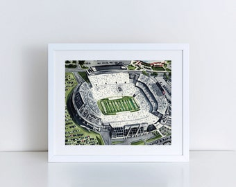 Penn State Art Beaver Stadium Print Happy Valley Art Penn State Print Nittany Lion Art PSU Football Joe Paterno Art Graduation Gift Grad Art