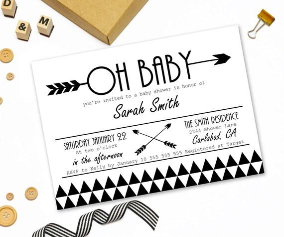 Modern baby shower invitation printabletribal arrow baby like this item filmwisefo Image collections