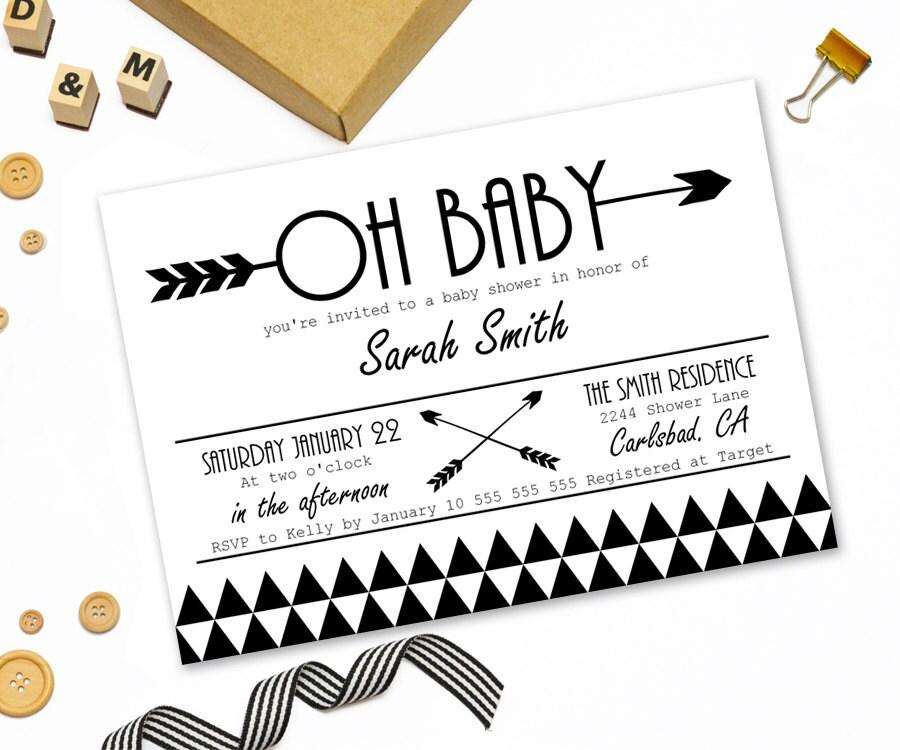 Modern baby shower invitation printabletribal arrow baby