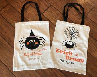 Halloween tote bag - Halloween sack - Personalized Halloween bag - Monogram Halloween candy bag - Halloween bucket - Halloween canvas bag