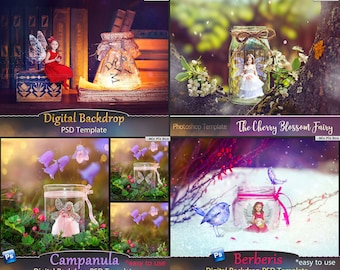 Bundle Pack Photoshop Fairy Digital backdrop, template scene, Digital backgrounds, Fairy psd template, children's backdrop,