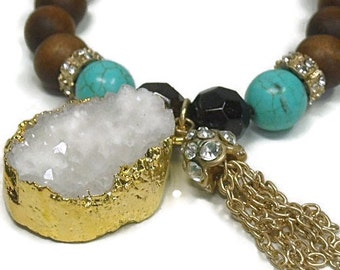 White Druzy Bracelet - Beaded Druzy Bracelet - Druzy Nugget Bracelet - Drusy Bracelet - Turquoise and Wood Beaded Bracelet with Druze Nugget