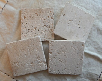Plain Natural Stone Coasters , Travertine Coasters [Set of 4 or 6] - Great Housewarming Gift!
