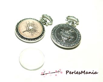 20 pieces: 10 pendants FOB rabbit ref 42 antique silver 20MM and 10 cabochons