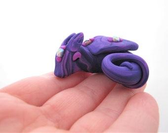 Baby Dragon Sculpture, Miniature Purple Jewelled Dragon Ornament, Purple Marbled Dragon, Polymer Clay Dragon Figurine
