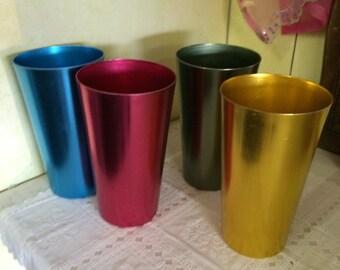 Retro Aluminum Jeweltone Cups 16oz Mid-Century