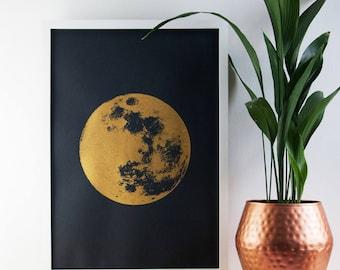 Large Moon Print, Gold Print, Reflection Moon, Boho, Celestial Skies, Poster, A2 Art Print, Prints, Screenprint, Gift Idea, Print, Wall Art