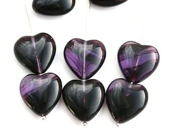 15mm Dark Purple Heart beads, Mixed Purple violet czech glass pressed beads, 10Pc - 3027
