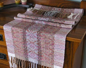 Handwoven Table Runner Hand Dyed Yarn Rayon Cotton Scarf Chunky Wide Scarf Shawl Gift for Her Table Runner Grey Brown Cream - Park Rose