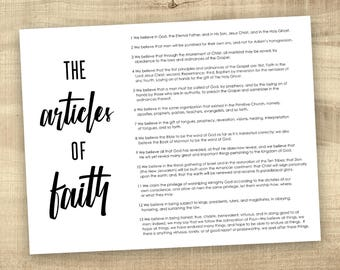Articles of Faith, LDS Digital File primary LDS printable poster, Mormon, Family Proclamation 8.5x11, 11x14, 16x20