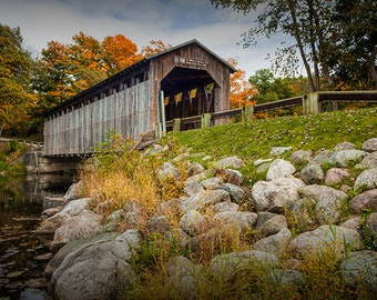 Covered Bridge, Wooden Bridge, Fallasburg  Bridge, Historic Site, Flat River, Fall Bridge, Lowell Michigan, Autumn Landscape, Art Photograph