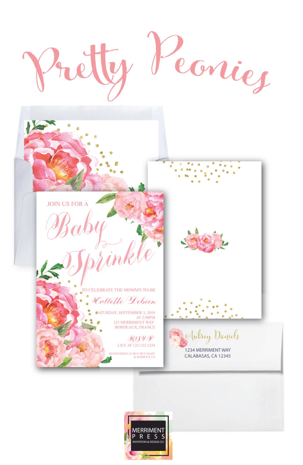 Baby Sprinkle Invitation // White Background // Peonies // Peony ...