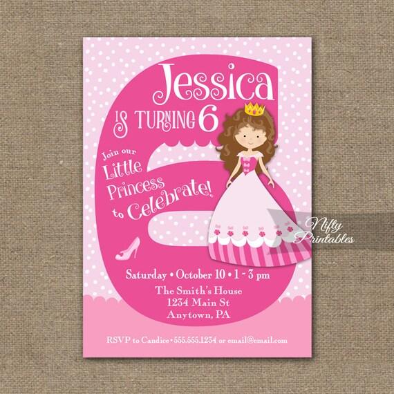 6th birthday invitations girl birthday invitation princess filmwisefo Image collections