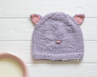 Knit hat baby Hat cat Toddler Hats Animal Hat Baby Girl Gift Baby