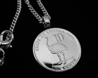ERITREA - Ostrich 10Cents - Necklace (Lady's or Man's), Money Clip, Key Ring, Earrings, or Cuff Links.  For OSTRICH Lovers, maybe even YOU!