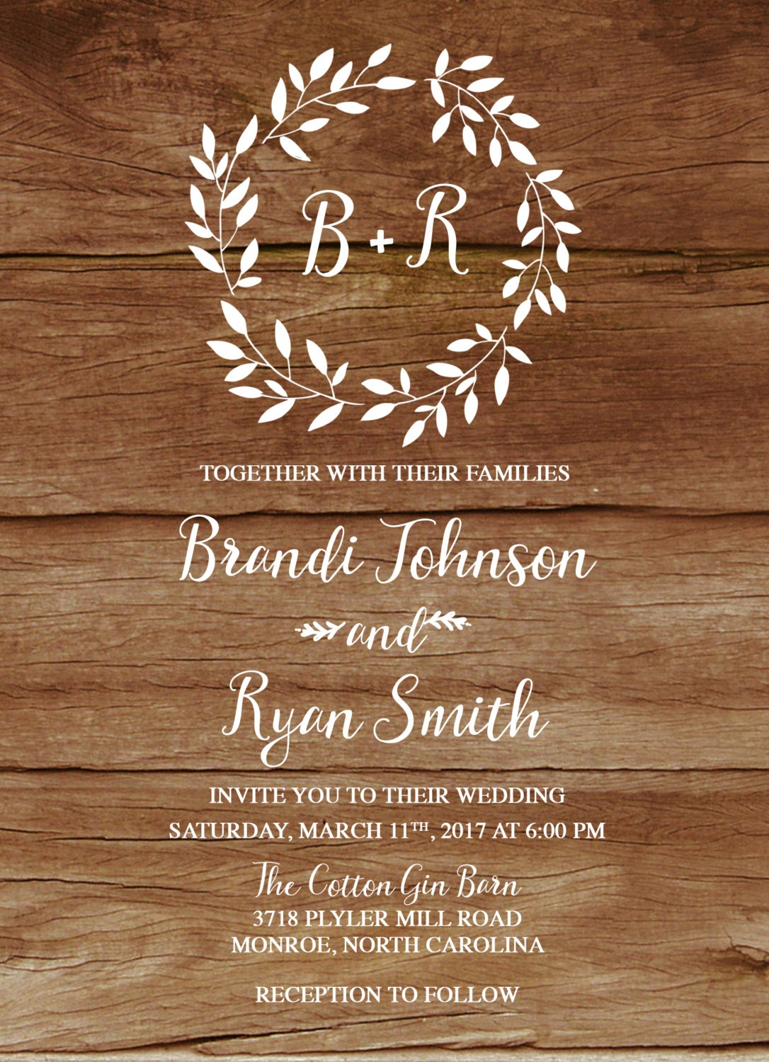 Rustic Wedding Invitation, Boho Wreath Printable Wedding Invitation ...