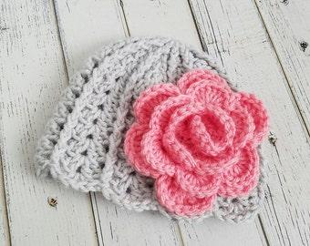 Crochet Girls Hat, Girls Beanie, Baby Girl Hat, Baby Gift, Flower Hat, Hats for Girls, Flower Beanies, Baby Photo Prop, READY2SHIP