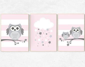 Owl nursery wall art, baby girl room decor, Pink nursery decor, owl nursery decor, baby girl nursery decor, nursery girl decor, nursery girl