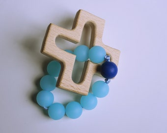Baby Teething Rosary Decade - Glacier Blue and Cobalt