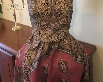 Soft Delicate Brown PureWOOL fabric Damascus Leopard Print Fabric Dress Fabric
