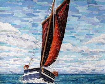 Spirit of Mystery - Signed Fine Art Giclée Print. sailing boat, red sail, blue sea, sky, contemporary art print.