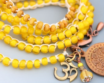 Crocheted Wrap Necklace Bracelet Anklet. Vintage French Yellow White Heart Seed Beads. Copper Buddhist Prayer Wheel.