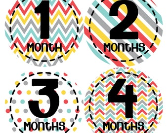 Monthly Stickers Monthly Baby Stickers Baby Month Milestone Stickers Baby Month Stickers Month to Month Bodysuit Stickers Shower Gift 265