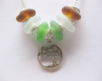 Sterling beach Glass tree of life necklace Beach Glass Jewelry statement necklace
