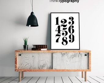Nursery Scandinavian Numbers Print Typography Black and White Art Kids room decor