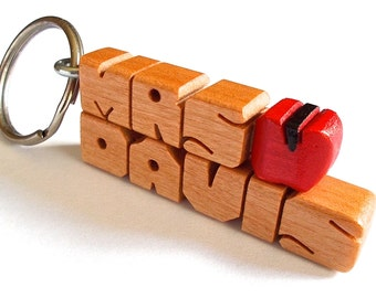 Teacher's Apple, Two-Liner Keychain, Cherry Wood Name, Custom Carved to Order