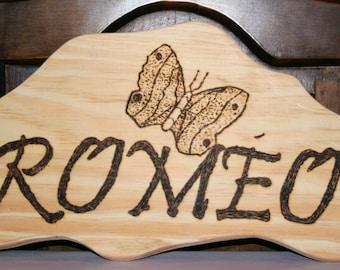 NAMES decorative door Plaque natural wood