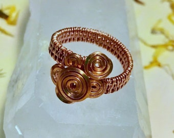Size 8 copper wire wrapped ring handmade wire wrapped jewelry wire weave
