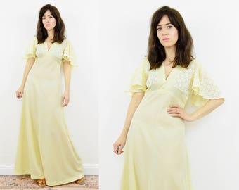 70s lace maxi dress, Cream lace dress, Lace maxi dress, Wedding dress, Boho maxi dress, hippie dres, 70s hippie dress, evening dress