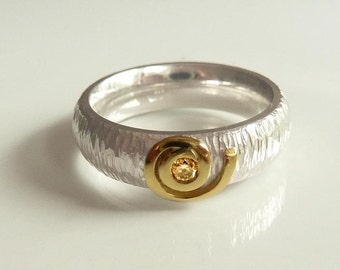 Ring brillant & gold silver - engagement Ring - handforged by SILVERLOUNGE