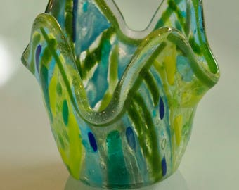 Blue and green whimsical vase