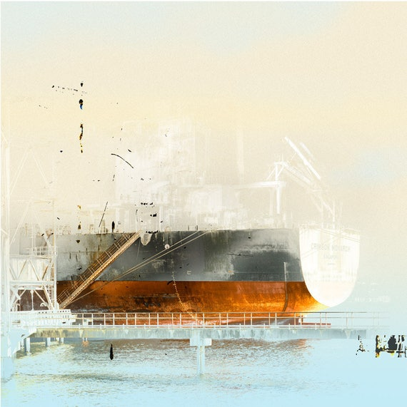 The Crimson Monarch, limited edition print, ship, harbor, industrial, markmaking, abstract landscape, waterscape, port, seascape, boat