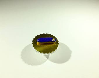 Miniature Flash dark blue glaze and decoration of polymer clay gold leaf