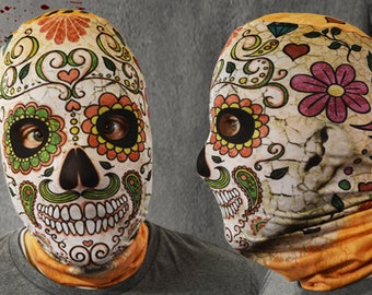 3D Effect Day Of The Dead Orange Skull Faceskin Lycra Fabric Face Mask Halloween Mask