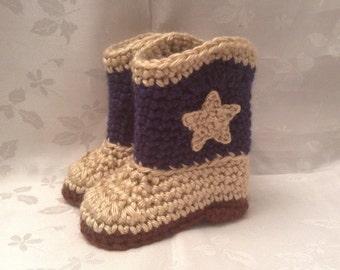 Baby Cowboy Boots Dark Blue and Tan Crochet baby cowboy booties boots Baby Boy Booties Baby Girl Booties Infant Booties