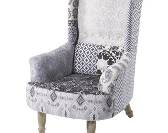 Soft Velvet Vintage Style Statement Print Wingback Chair with Wooden Legs