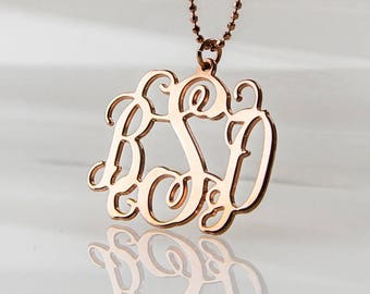 18K Rose Gold plated Monogram Necklace over Sterling Silver 0.925