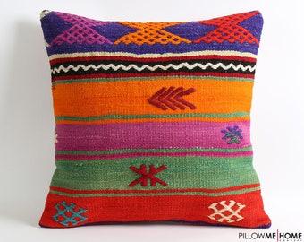 kilim pillow 20x20, decorative pillow, pillow, kilim rug pillow, turkish pillow, rug pillow, cushion cover, bohemian pillow