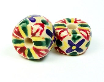 ON SALE NOW Polymer Clay Handmade Beads - Painted and Glossed - Large Hole - Bohemian Beads