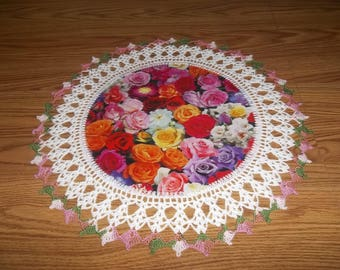 Crochet, Multi Colored Rose Doily,  Crocheted Doily Roses, Fabric Center, Handmade, Doilies Lace, Crocheted Edge, Centerpiece, Table Topper
