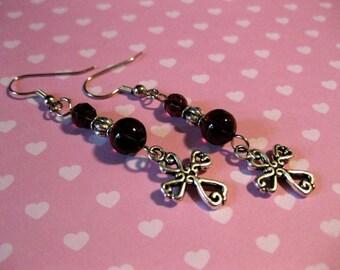 Cross Purple Czech Glass Beaded Dangle Earrings