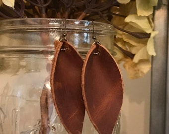 Distresed Leather Earings