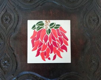 Red chili pepper ceramic tile trivet kitchen wall decor hand painted in Arizona,New Mexico decor, Mexican decor, Southwestern decor Betty co
