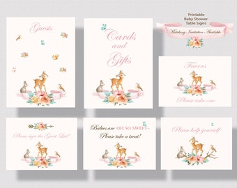 WOODLAND ANIMALS BABY Shower Signs for Girl | Deer Baby Shower Printable Table Signs For Girl | Forest Animals Baby Shower Signs Pink 0260